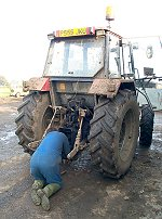 Dave mends a tractor